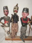 Three village wayang golek rod puppets circa 1940.  Old, used, authentic..